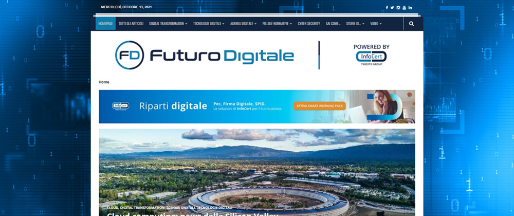 Futuro Digitale, sito web, homepage screenshot